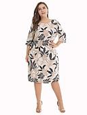 זול שמלות במידות גדולות-עד הברך דפוס, פרחוני - שמלה ישרה משוחרר כותנה מידות גדולות בוהו בגדי ריקוד נשים