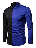 זול חולצות לגברים-גיאומטרי / קולור בלוק חולצה - בגדי ריקוד גברים לבן / שרוול ארוך