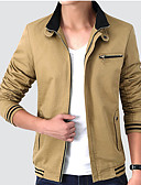 cheap Men's Jackets & Coats-Men's Daily Active / Basic Spring &  Fall Long Jacket, Solid Colored Stand Long Sleeve Cotton / Polyester Navy Blue / Wine / Khaki XXL / XXXL / XXXXL