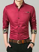 お買い得  メンズシャツ-男性用 シャツ カラーブロック ネイビーブルー L / 長袖