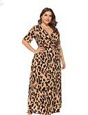رخيصةأون فساتين قياس كبير-فستان نسائي قياس كبير ثوب ضيق أساسي طويل للأرض جلد نمر خصر عالي منخفضة V رقبة / مثير