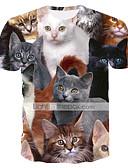 billiga T-shirts och brottarlinnen till herrar-Tryck, Färgblock / Djur T-shirt - Grundläggande / Streetchic Herr Rund hals Katt Regnbåge XXXL / Kortärmad