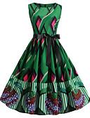 hesapli Vintage Kraliçesi-Kadın's A Şekilli Elbise - Zıt Renkli Diz üstü / Sexy