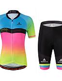 cheap Cycling Jersey & Shorts / Pants Sets-Miloto Women's Short Sleeve Cycling Jersey with Shorts - Rainbow Plus Size Bike Jersey, Reflective Strips, Sweat-wicking Spandex Gradient / Stretchy