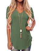 billige Bluser-V-hals T-skjorte Dame - Ensfarget Grunnleggende Vin