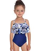 levne Dívčí plavky-Děti / Toddler Dívčí Základní / Cute Style Sport / Plážové Květinový Volány / Tisk Bez rukávů Nylon Plavky Vodní modrá