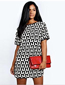 cheap Women's Dresses-Women's Daily Shift Dress - Geometric Print Black L XL XXL