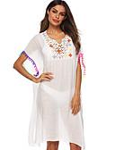 olcso Tunika-Női Extra méret Nyakkivágás Fehér Fekete Merész Strandruha Fürdőruha - Egyszínű Egy méret Fehér / Sexy