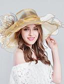billige Hatter til damer-Dame Kentucky Derby Blomst Ferie Bøttehatt Solhatt-Stripe,Stripet Tyll Vår & Vinter Sommer Lilla Vin Kakifarget