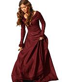 economico Abiti Lolita-Retrò / vintage Medievale Costume Per donna Vestiti Rosso / Verde / Blu Vintage Cosplay Tè Festival Manica lunga Lungo Linea-A