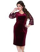 cheap Plus Size Dresses-Women's Plus Size Daily Slim Sheath Dress - Solid Colored Patchwork V Neck Green Black Wine XXXXL XXXXXL XXXXXXL