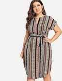 رخيصةأون فساتين قياس كبير-فستان نسائي قياس كبير ثوب ضيق أساسي طول الركبة مخطط خصر عالي V رقبة / مثير