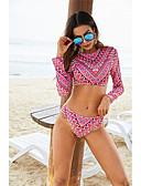 halpa Bikinis-Naisten Perus Fuksia Laivastosininen poolokaulus Pikkutuhmat Tankini Uima-asut - Geometrinen M L XL Fuksia