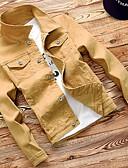 preiswerte Herren T-Shirts & Tank Tops-Herrn Alltag Standard Jeansjacke, Solide Umlegekragen Langarm Polyester Gelb / Wein / Königsblau XL / XXL / XXXL