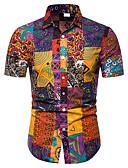 cheap Men's Shirts-Men's Club Weekend Business / Street chic EU / US Size Linen Shirt - Tribal Print Classic Collar Rainbow XXXL / Short Sleeve