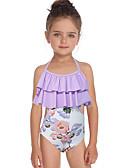 זול בגדי ים לבנות-בגדי ים ללא שרוולים פרחוני בנות ילדים / פעוטות