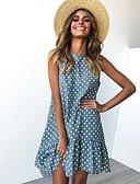 זול שמלות נשים-מידי קפלים, מנוקד - שמלה גזרת A רזה בסיסי ליציאה בגדי ריקוד נשים