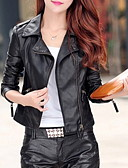 cheap Bikinis-Women's Daily Short Leather Jacket, Solid Colored Notch Lapel 3/4 Length Sleeve PU Black L / XL / XXL