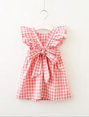お買い得  女児 ドレス-子供 / 幼児 女の子 活発的 / 甘い チェック 半袖 ドレス ブルー