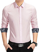 cheap Men's Shirts-Men's Daily Holiday Going out Basic / Street chic Plus Size / EU / US Size Cotton Slim Shirt - Solid Colored / Geometric Classic Collar Navy Blue / Long Sleeve / Fall / Work