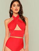 abordables Bikinis-Femme Noir Rouge Rose Claire Slip Brésilien Tankinis Maillots de Bain - Couleur Pleine M L XL Noir / Sexy