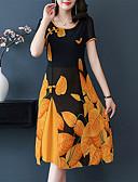 cheap Print Dresses-Women's Chinoiserie Chiffon Dress - Floral Red Yellow XXXL XXXXL XXXXXL