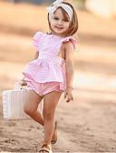 Χαμηλού Κόστους Βρεφικά φορέματα-Μωρό Κοριτσίστικα Ενεργό / Βασικό Καθημερινά Στάμπα Αμάνικο Μακρύ Βαμβάκι Σετ Ρούχων Ανθισμένο Ροζ