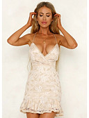 cheap Women's Dresses-Women's Ruffle Daily Going out Elegant Slim A Line Dress - Solid Colored Backless Ruffle Strap White Beige M L XL / Sexy