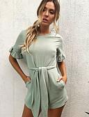 זול חולצה-שרוולים קצרים M L XL אחיד, Rompers רגל רחבה לבן ירוק בהיר בגדי ריקוד נשים
