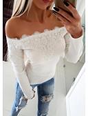 cheap Bikinis-Women's Street chic T-shirt - Solid Colored Lace Off Shoulder White XXXL