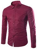 levne Pánské košile-Pánské - Jednobarevné Práce Business / Základní EU / US velikost Košile Bavlna Klasický límeček Štíhlý Světle modrá XL / Dlouhý rukáv / Podzim