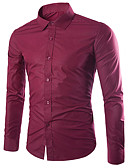 cheap Men's Shirts-Men's Work Business / Basic EU / US Size Cotton Slim Shirt - Solid Colored Classic Collar Light Blue XL / Long Sleeve / Fall