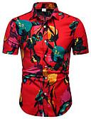 cheap Men's Shirts-Men's Club Business / Street chic EU / US Size Linen Shirt - Color Block Print Classic Collar Red XXXL / Short Sleeve