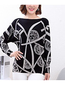 cheap Women's Sweaters-Women's Daily Solid Colored Long Sleeve Regular Pullover Black / Navy Blue M / L / XL