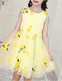 Χαμηλού Κόστους Φορέματα για κορίτσια-Παιδιά Κοριτσίστικα χαριτωμένο στυλ Καθημερινά Φλοράλ Στάμπα Αμάνικο Ως το Γόνατο Πολυεστέρας Φόρεμα Θαλασσί