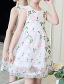 Χαμηλού Κόστους Φορέματα για κορίτσια-Παιδιά / Νήπιο Κοριτσίστικα Ενεργό / Γλυκός Patchwork Κεντητό Αμάνικο Ρεϊγιόν / Πολυεστέρας Φόρεμα Λευκό