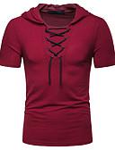 abordables Camisetas y Tops de Hombre-Hombre Acordonado - Algodón Camiseta, Con Capucha Un Color Gris Oscuro L
