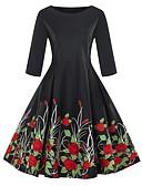 hesapli Vintage Kraliçesi-Kadın's Vintage Zarif A Şekilli Kılıf Little Black Elbise - Çiçekli, Desen Maksi