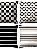 cheap Cover Ups-4 pcs Cotton / Linen Pillow Case, Striped Simple Geometic Simple Geometric
