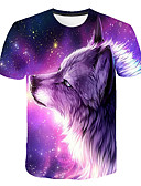 cheap Men's Tees & Tank Tops-Men's Club Basic / Street chic T-shirt - Color Block / 3D / Animal Wolf, Print Round Neck Purple XXXL / Short Sleeve