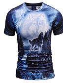 cheap Men's Tees & Tank Tops-Men's Slim T-shirt - Animal Round Neck Blue XL