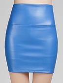 abordables Jupes-jupes moulantes en similicuir au dessus du genou pour femme - de couleur unie