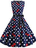 halpa Vintage-kuningatar-Naisten Vintage Tyylikäs Swing Mekko - Polka Dot Polvipituinen