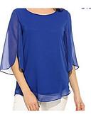 hesapli Büyük Beden Elbiseleri-Kadın's İnce - Gömlek Solid Büyük Bedenler Mor