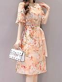 זול שמלות מודפסות-עד הברך דפוס, פרחוני - שמלה סקייטר\מחליקה על הקרח שרוול התלקחות בגדי ריקוד נשים