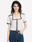 preiswerte Hemd-Damen Einfarbig Bluse, V-Ausschnitt Schlank Weiß L