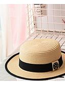 זול כובעים לגברים-שחור בז' חאקי כובע קש אחיד קש בסיסי בגדי ריקוד גברים