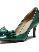 abordables Vestidos Maxi-Mujer Cuero Patentado Primavera & Otoño Tacones Tacón Bajo Dedo Puntiagudo Pajarita Verde Oscuro