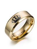 povoljno Luksuzni satovi-Muškarci Prsten Prsten obećanja 1pc Zlato Crn nehrđajući Cirkularno Angažman Dar Jewelry Kruna jeftino Lijep