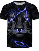 abordables Camisetas y Tops de Hombre-Hombre Estampado Camiseta Bloques / 3D / Animal